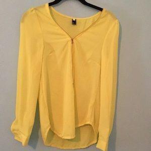 Tops - Sheer yellow long sleeve top